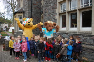 Children at Mama Bear's Downend nusery meet Pudsey